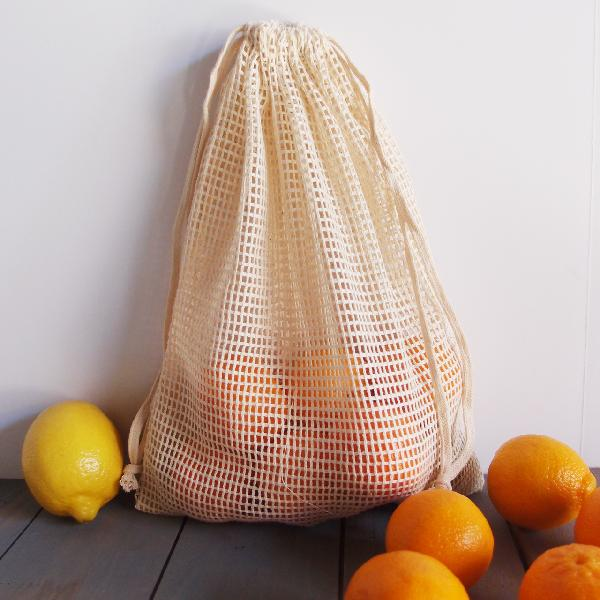 "Cotton Mesh Bags with Drawstring 10"" x 12"" (12 pk)"