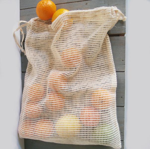 "Cotton Mesh Bags with Drawstring 12"" x 15"" (12 pk)"