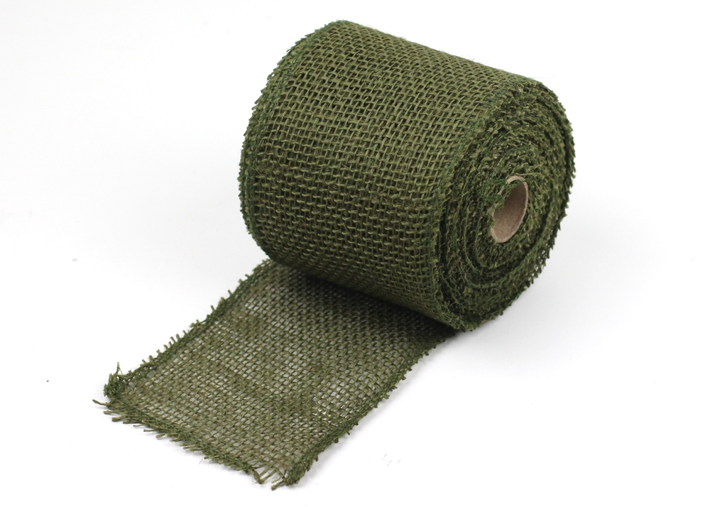 "4"" Moss Burlap Ribbon -10 Yards (serged)"