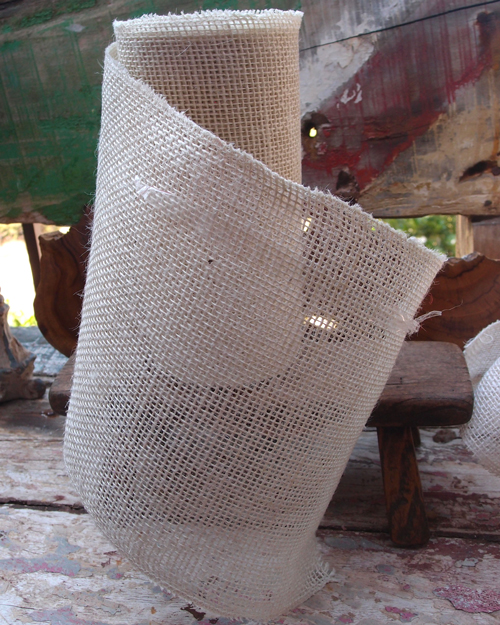 "Closeout 9"" Off White Burlap Ribbon 10 Yard Roll - Click Image to Close"