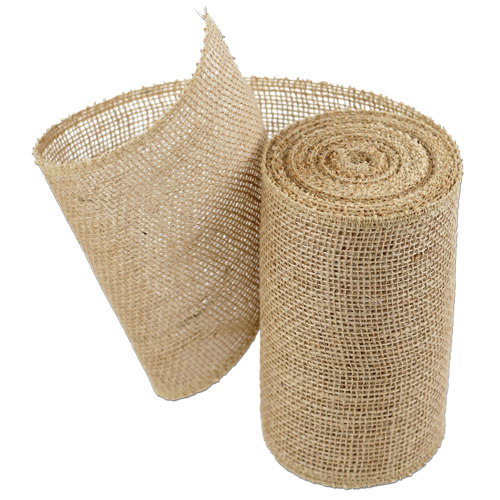 "5"" Wide Natural Burlap Ribbon - 10 Yard Roll Sewn Edges"