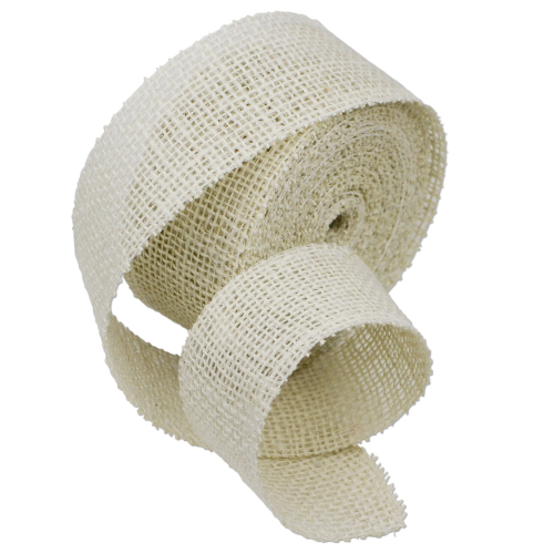 "2"" Bleach White Jute Ribbon - 10 Yards (serged) Imported"