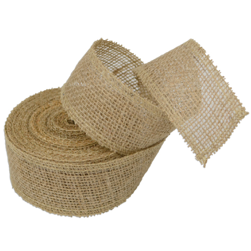 "2"" Natural Jute Ribbon - 10 Yards (serged) Imported"