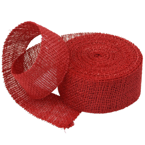 "2"" Red Jute Ribbon - 10 Yards (serged) Imported"