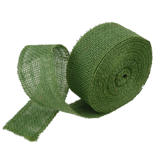 "2"" Green Jute Ribbon - 10 Yards (serged) Imported"
