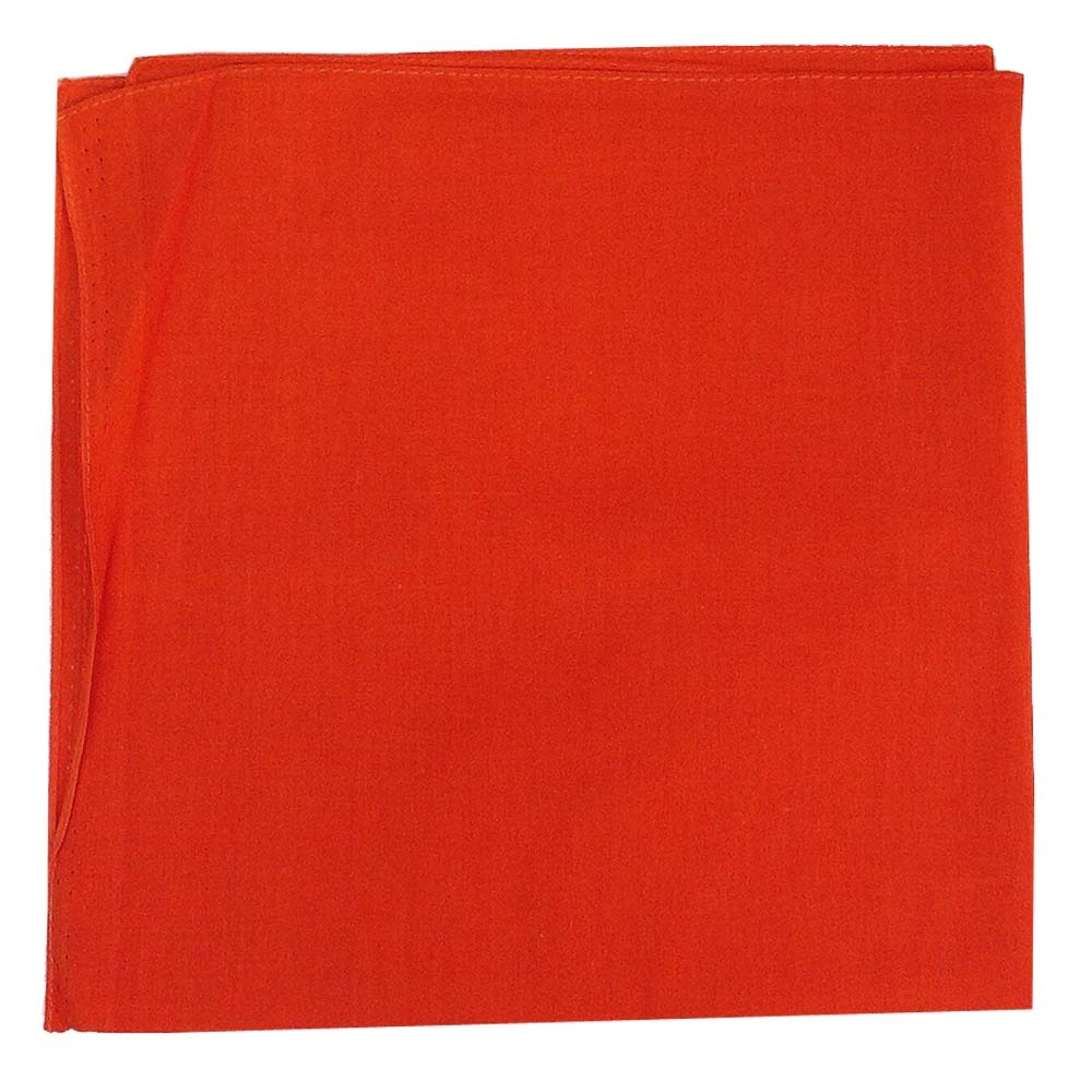 "14"" x 14"" Orange Bandana Solid Color 100% Cotton"