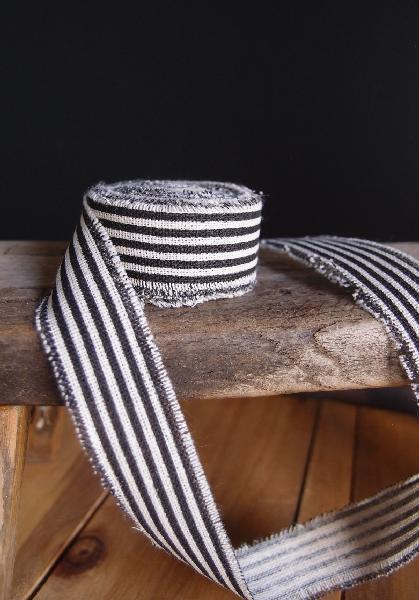 "1"" Linen Ribbon Black Stripes- 5 Yards Fringed Edges"