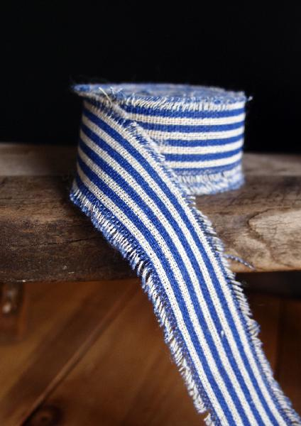 "1"" Linen Ribbon Ocean Blue Stripes - 5 Yards Fringed Edges"