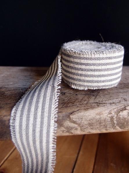 "1"" Linen Ribbon Pewter Stripes- 5 Yards Fringed Edges"