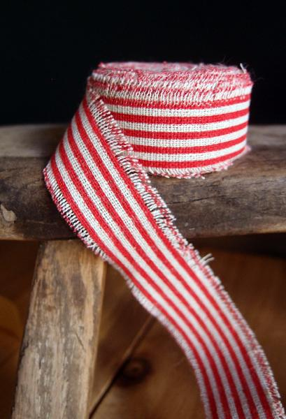 "1"" Linen Ribbon Red Stripes - 5 Yards Fringed Edges"