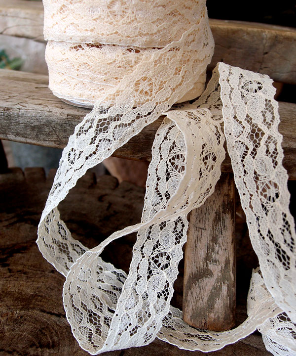 "1"" x 25 Yard Ivory Lace Floral Ribbon"
