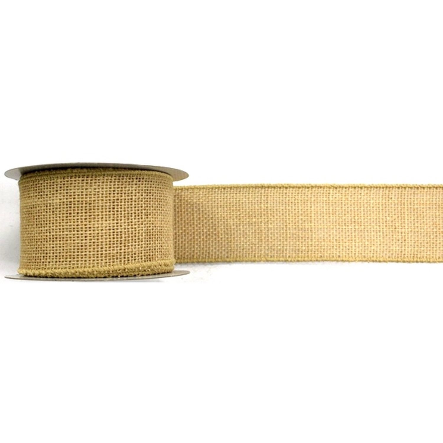 "2.5"" Wired Natural Burlap Ribbon - 10 Yard Roll"