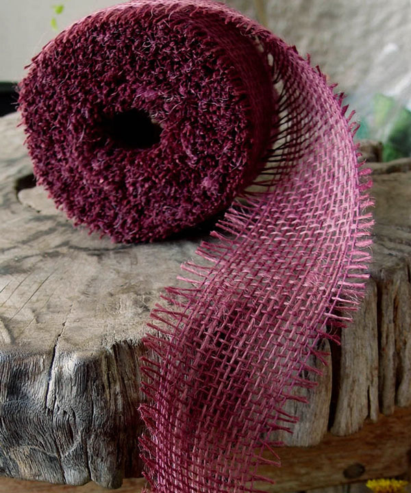 "2.5"" Burgundy Burlap Ribbon - 10 Yards (Frayed Edge)"