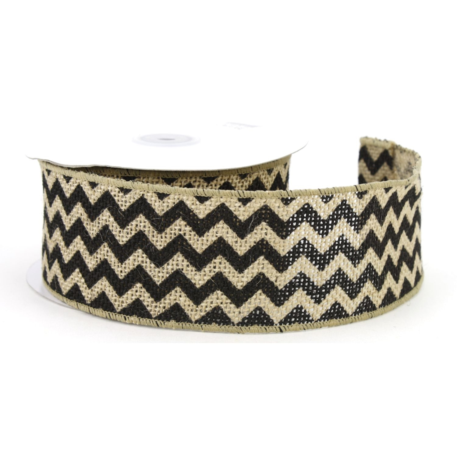 "2.5"" Natural/Black Chevron Burlap Ribbon - 10 Yards"