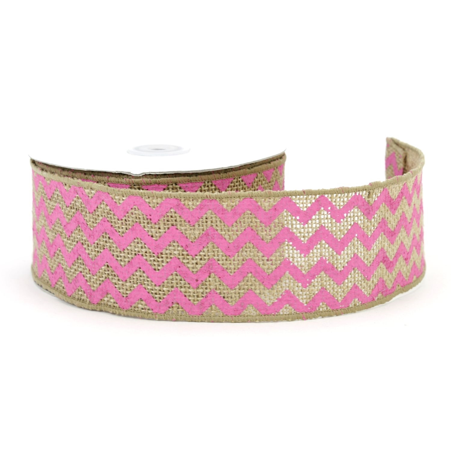 "2.5"" Natural/Hot Pink Chevron Burlap Ribbon - 10 Yards"