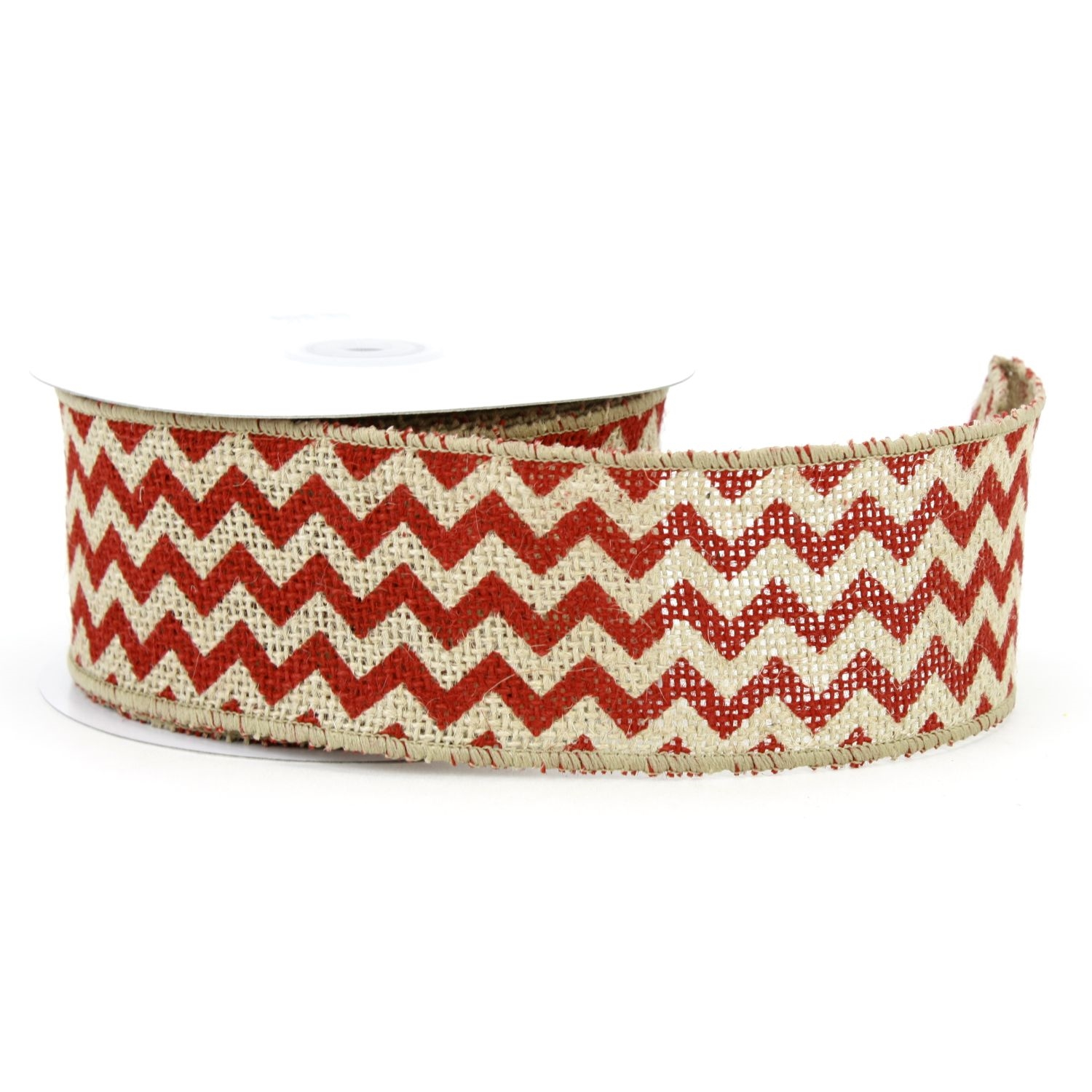 "2.5"" Natural/Red Chevron Burlap Ribbon - 10 Yards"