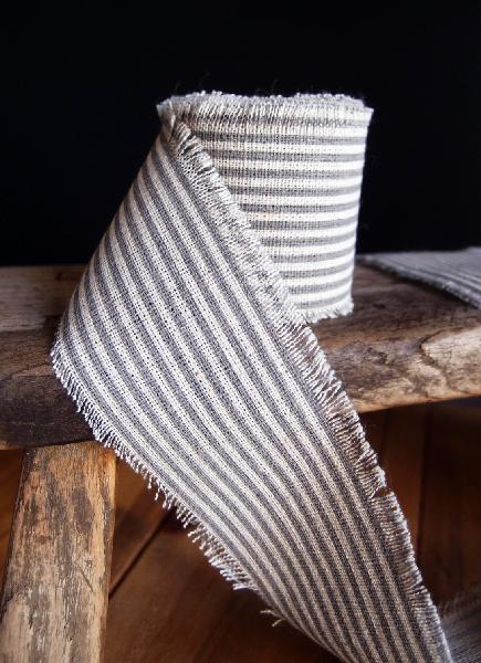 "2"" Linen Ribbon Pewter Stripes - 5 Yards Fringed Edges"