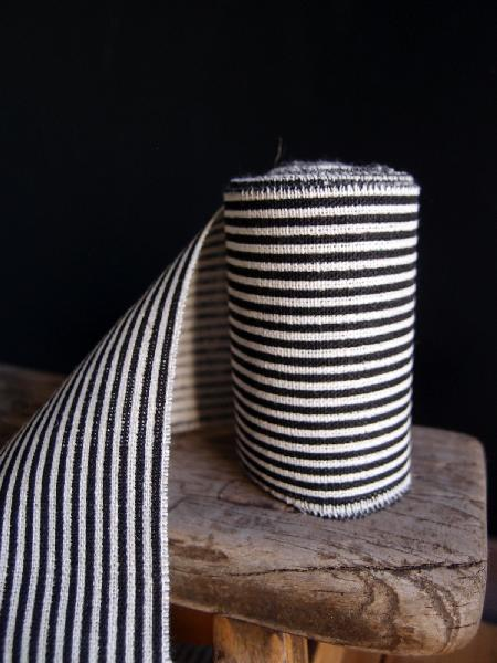 "3"" Linen Ribbon Black Stripes - 5 Yards Fringed Edges"