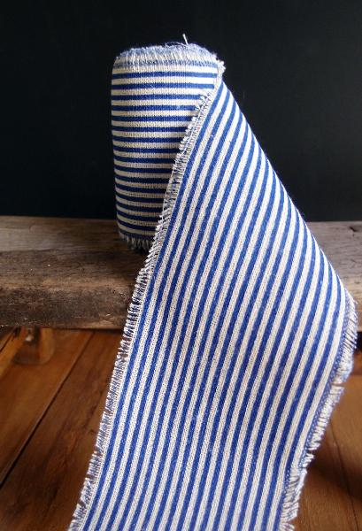 "3"" Linen Ribbon Ocean Blue Stripes - 5 Yards Fringed Edges"