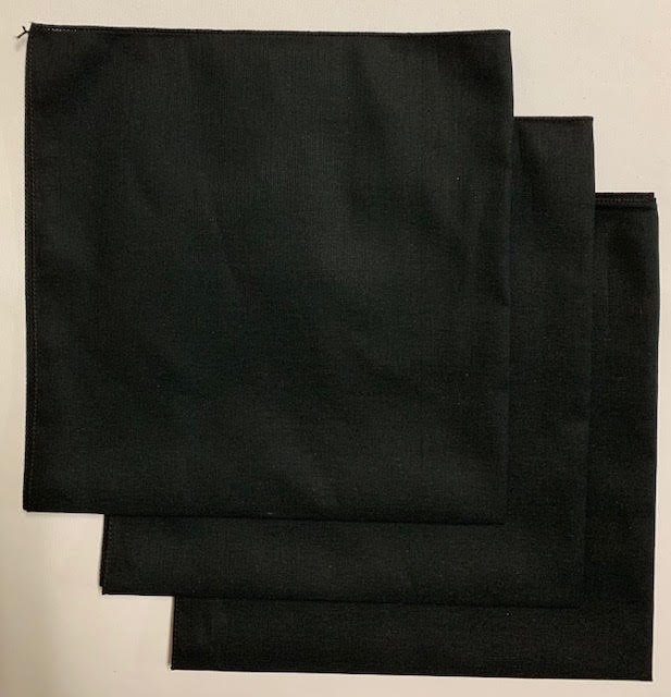 "Made in the USA Solid Black Bandanas 3 Pk, 22"" x 22"" Cotton"
