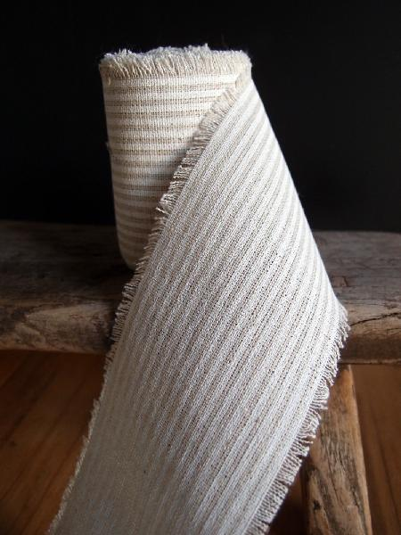 "3"" Linen Ribbon White Stripes - 5 Yards Fringed Edges"