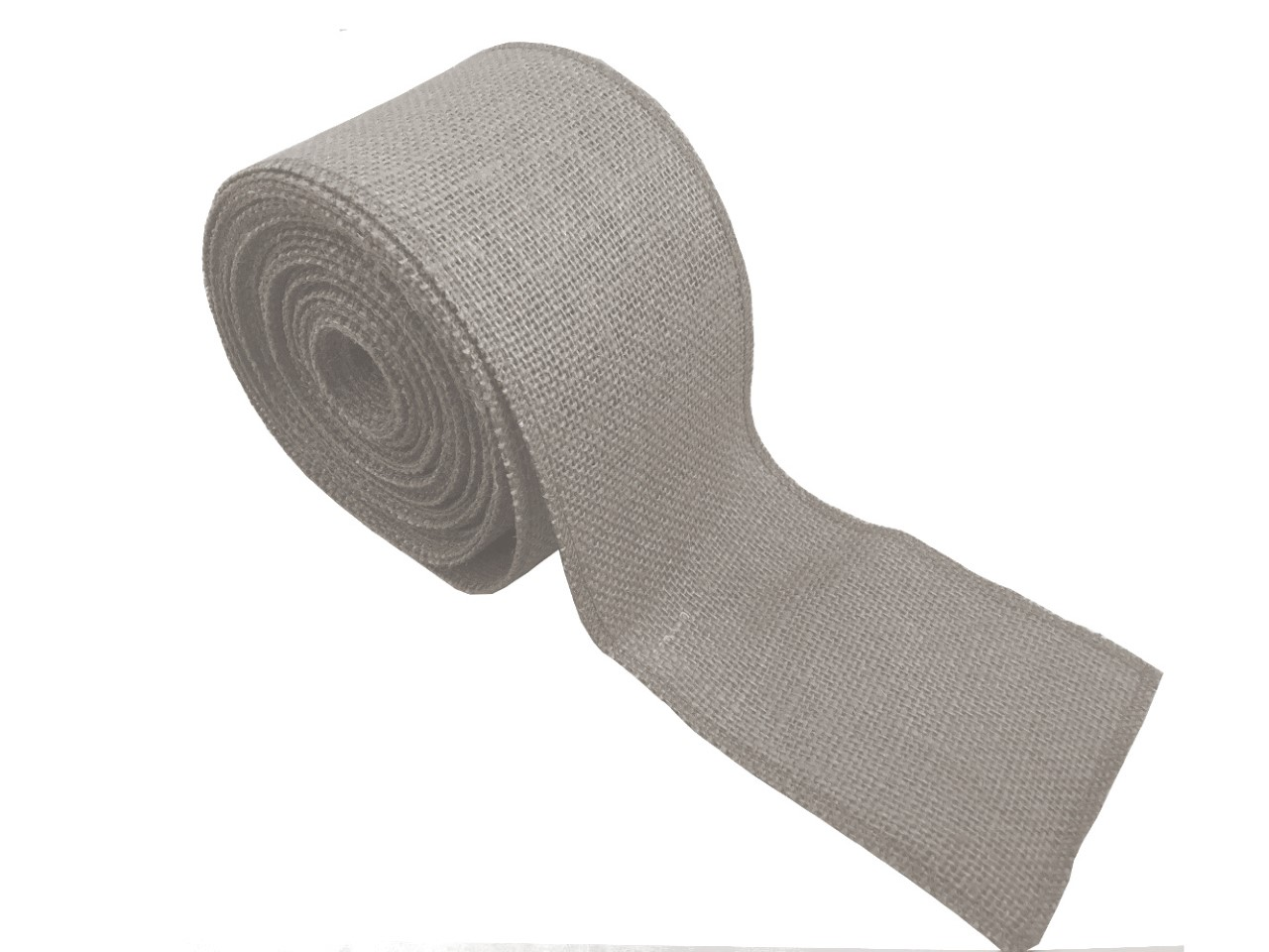 "4"" Light Grey Burlap Ribbon - 10 Yards (Sewn Edges)"