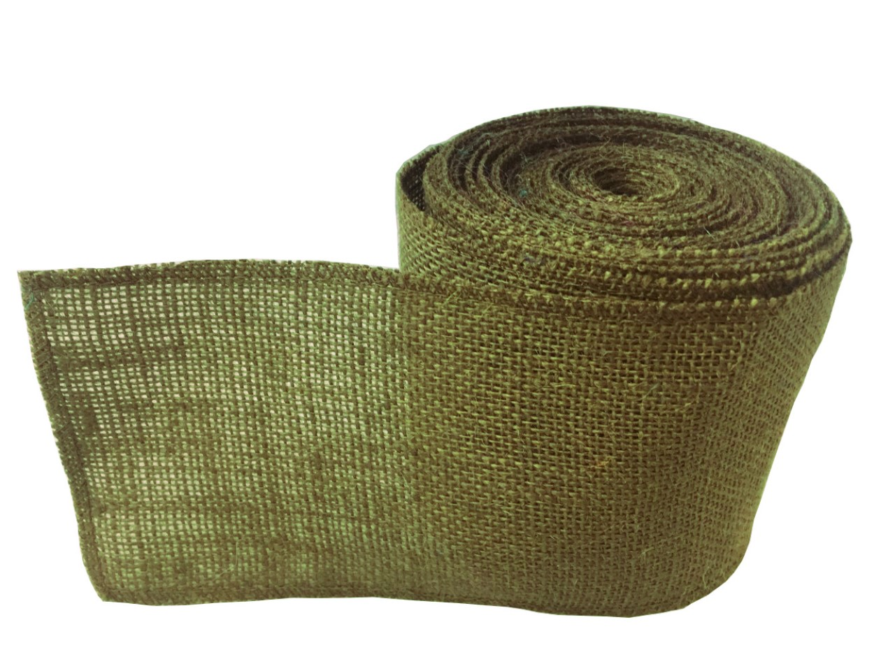 "4"" Avocado Burlap Ribbon - 10 Yards Serged"