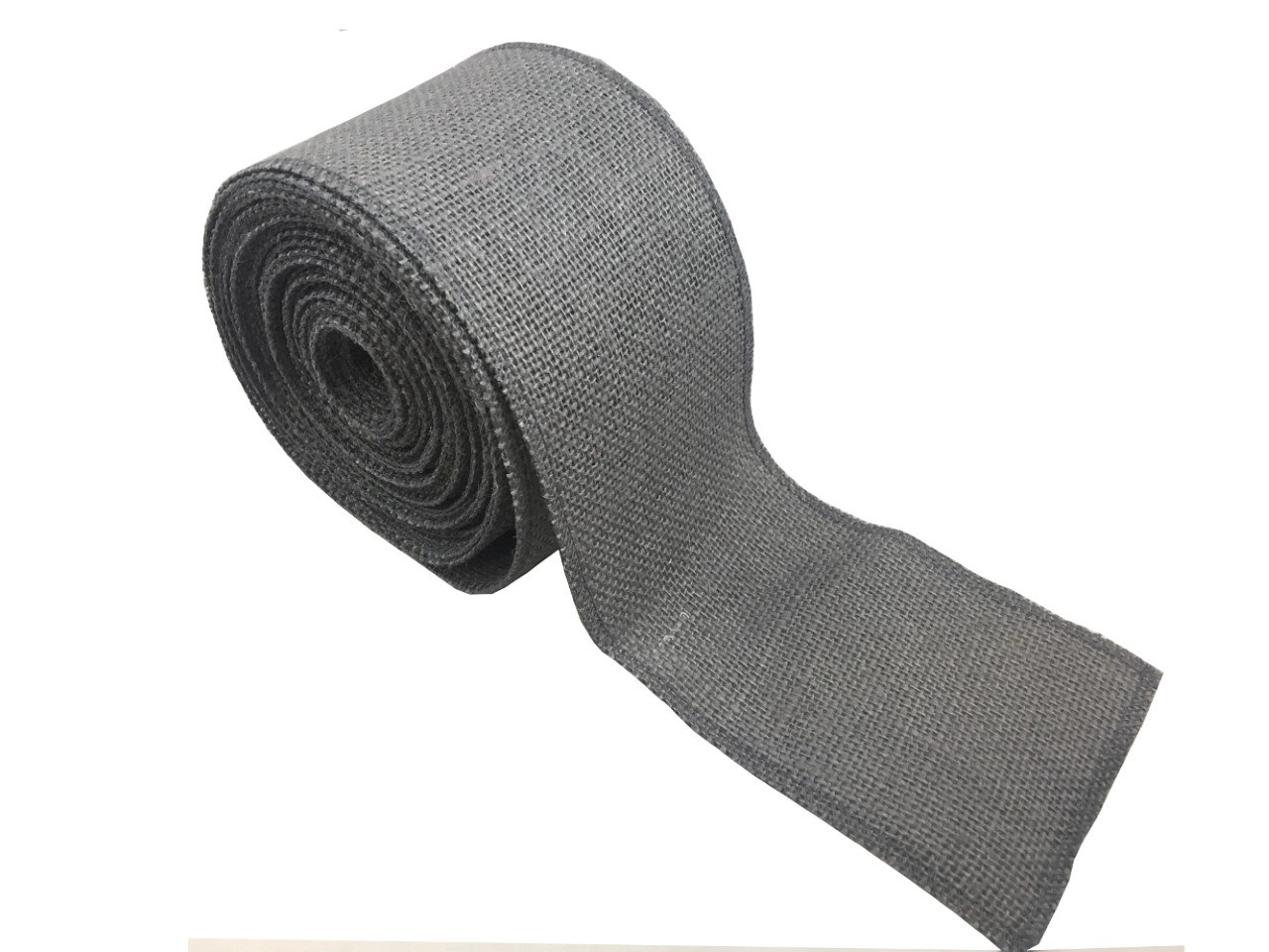 "4"" Charcoal Grey Burlap Ribbon - 10 Yards (Serged)"