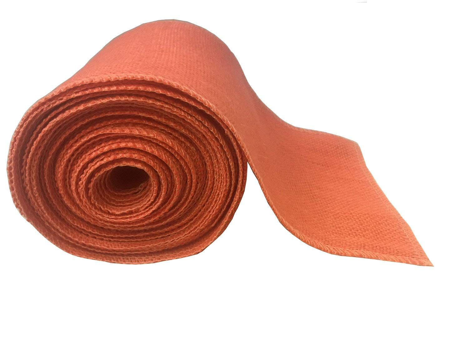 "4"" Coral Burlap Ribbon - 10 Yards (Sewn Edges)"