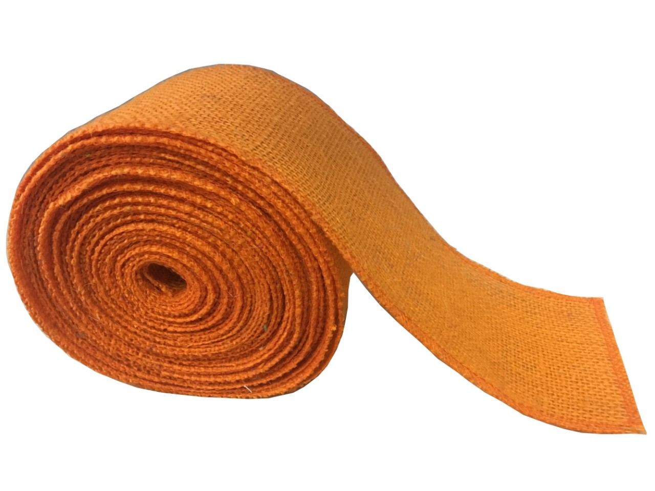 "4"" Orange Burlap Ribbon - 10 Yards (Sewn Edges)"