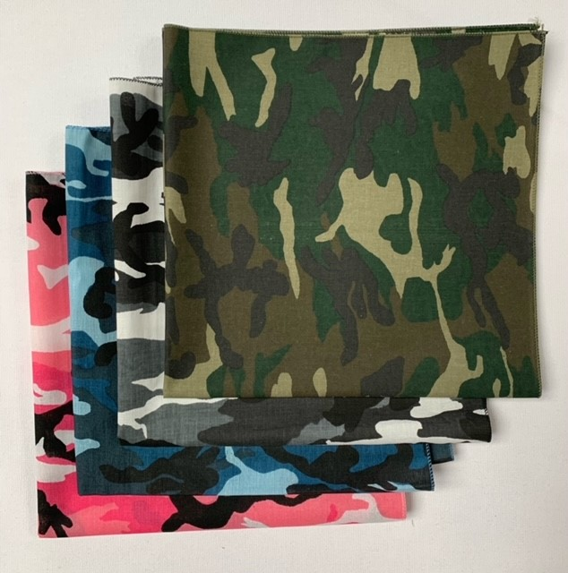 "Made in the USA Camo Bandanas 4 Pk 22"" Pink, Blue, Green & Urban"
