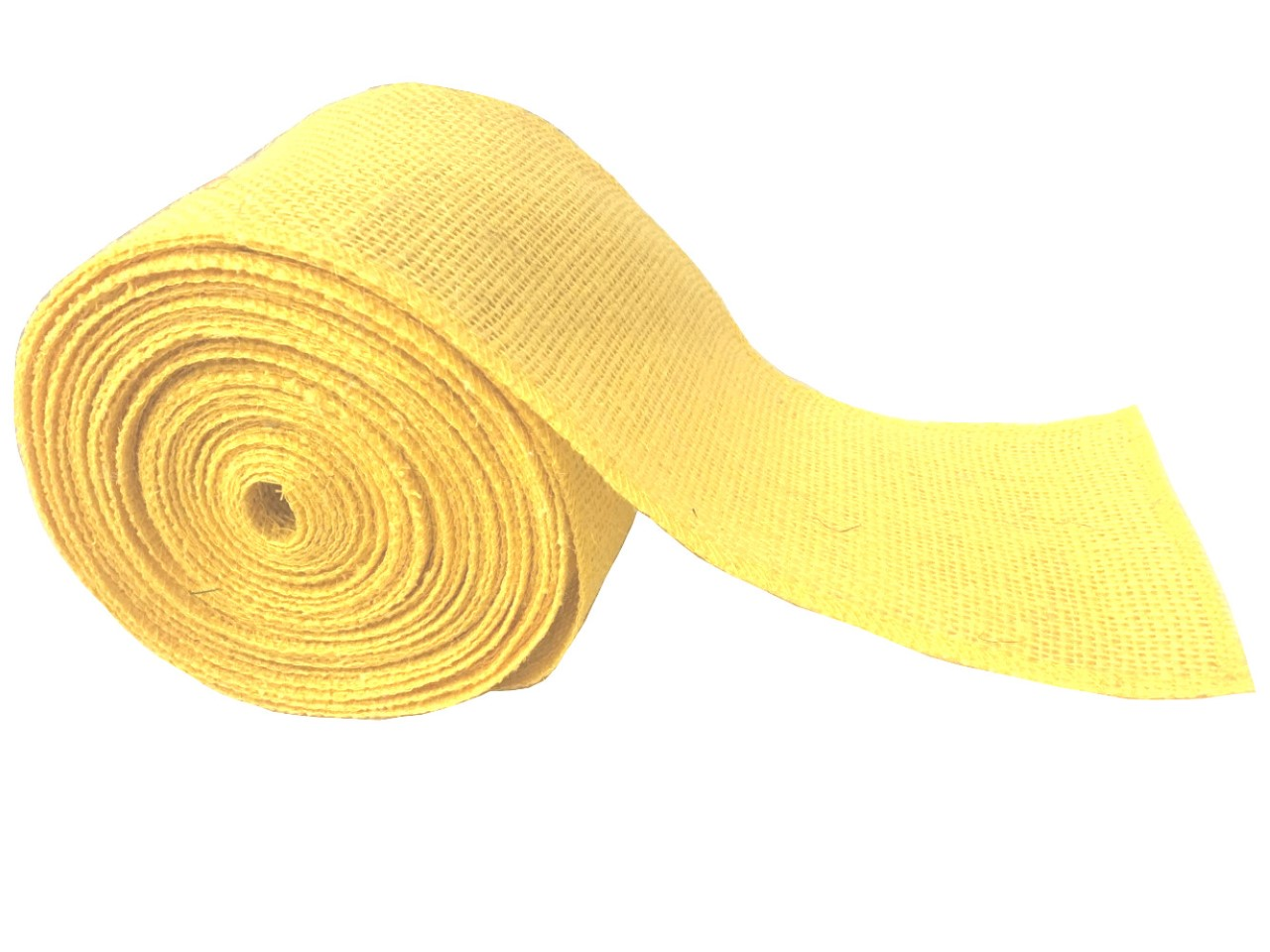 "4"" Yellow Burlap Ribbon - 10 Yards (Sewn Edges)"