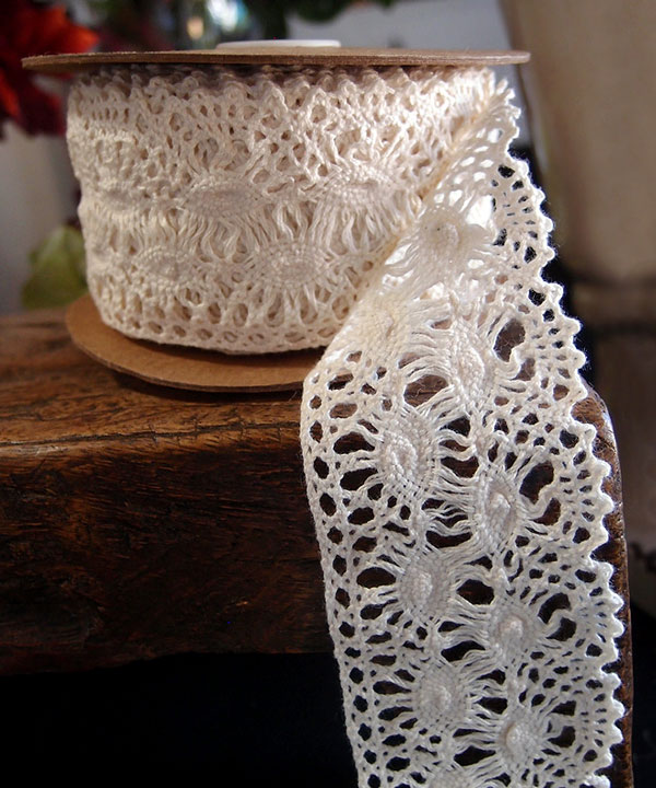 "2 1/3"" x 10 Yd Ivory Crochet Ribbon"