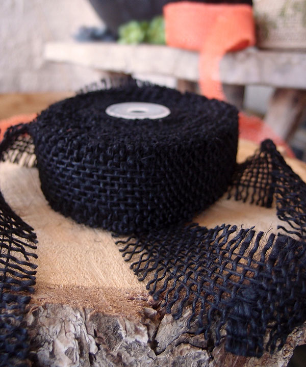 "1.5"" Black Burlap Ribbon - 10 Yards (Frayed Edges)"