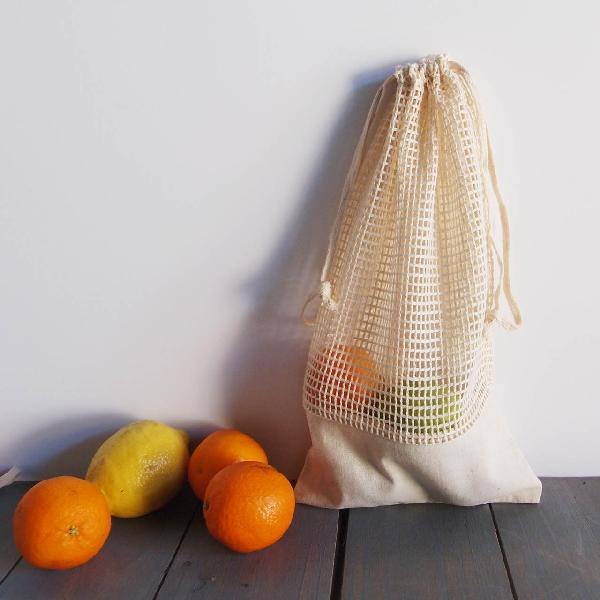 "Cotton Mesh Drawstring Bags With Fabric Trim 6.5"" x 12"" (12 pk)"