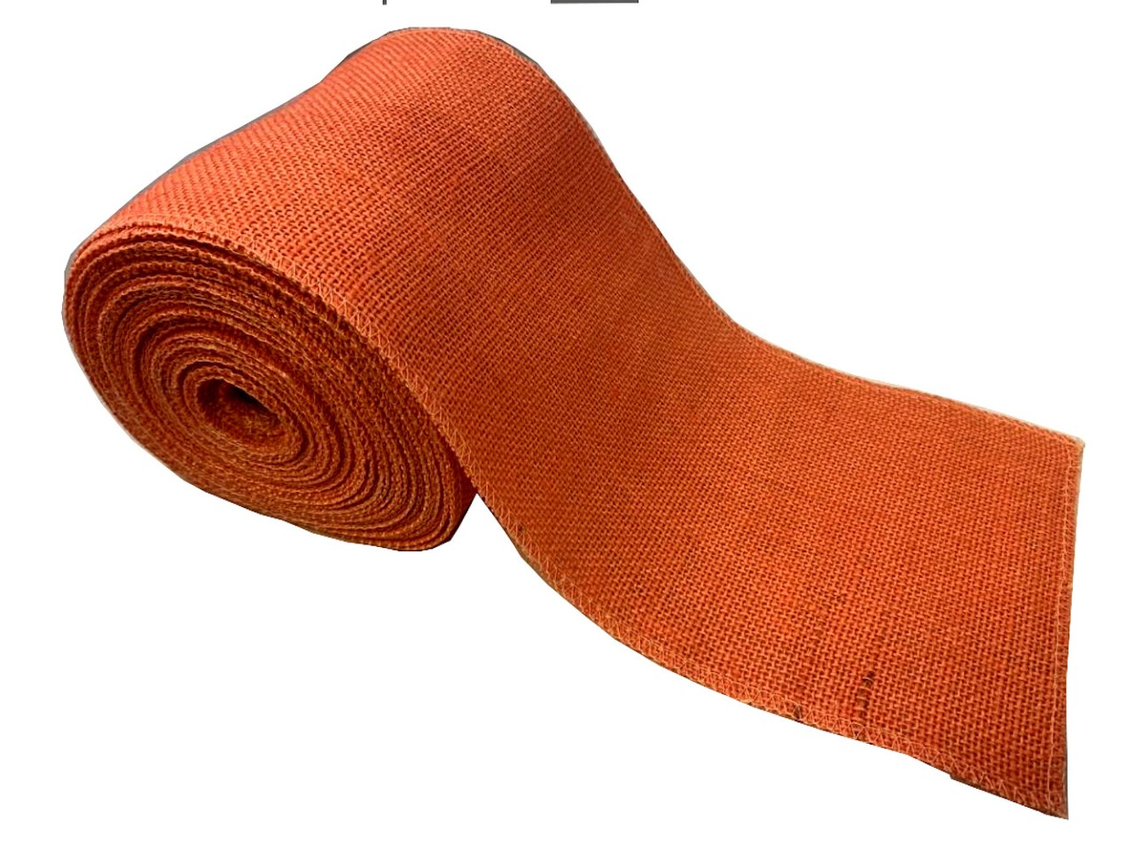 "6"" Coral Burlap Ribbon - 10 Yards (Sewn Edges)"