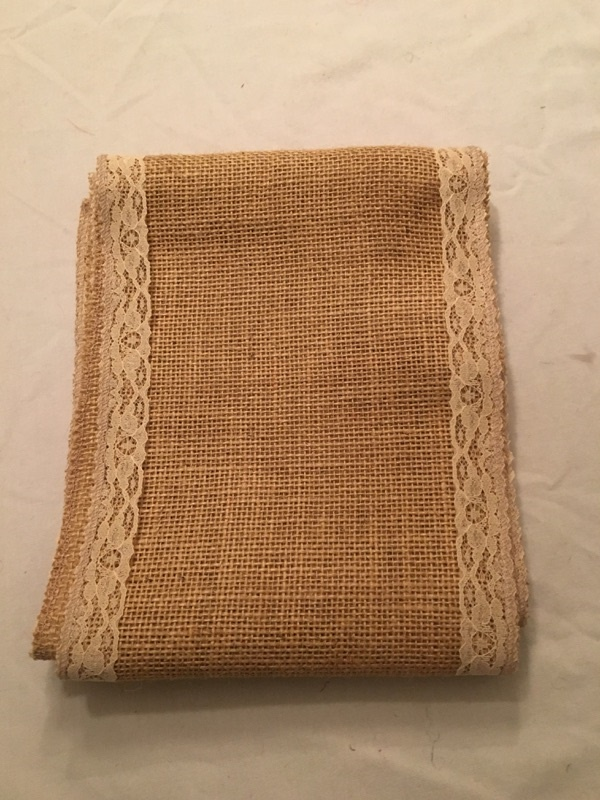 "7"" Natural Burlap Ribbon With Ivory Floral Lace - 6 foot length"