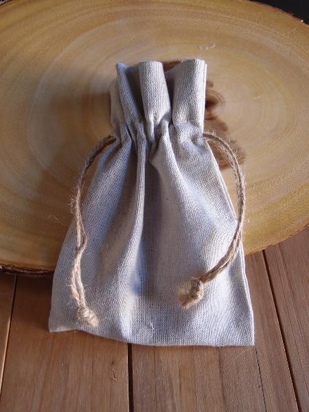 5 x 7 Linen Favor Bag with Jute Draw (dozen) - Click Image to Close