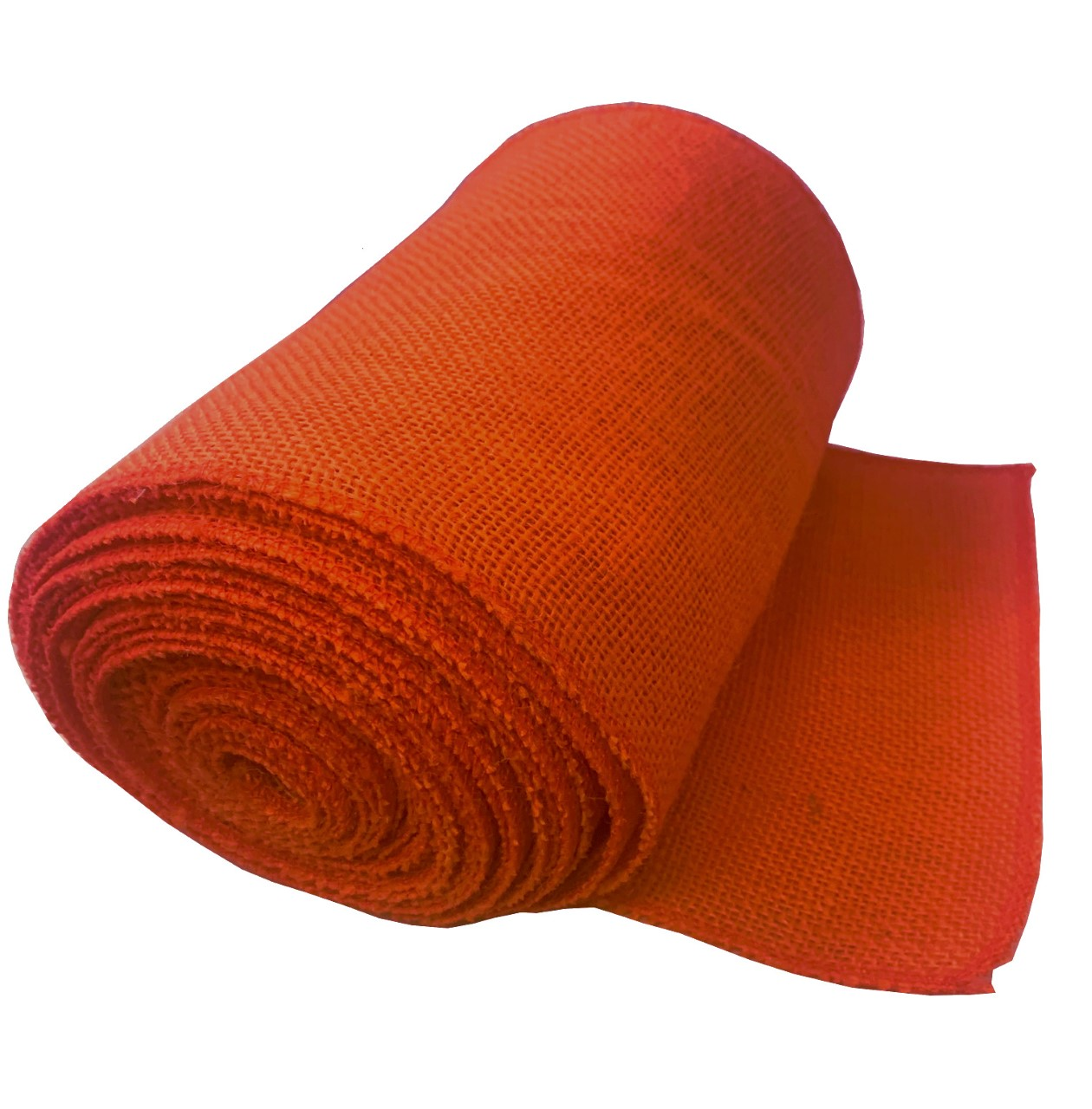 "9"" Tangerine Burlap Ribbon 10 Yard Roll (Serged) Made in USA"