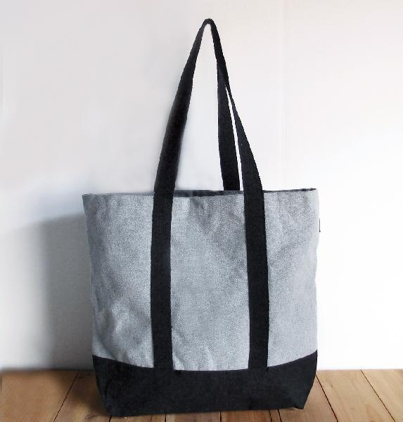 "18""W x 15""H x 5¾ Gusset Grey Recycled Canvas Tote w/Black Band"