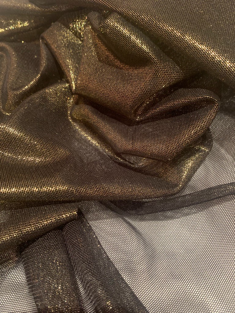 "57"" Black/Gold Foil Power Mesh Fabric By The Yard"
