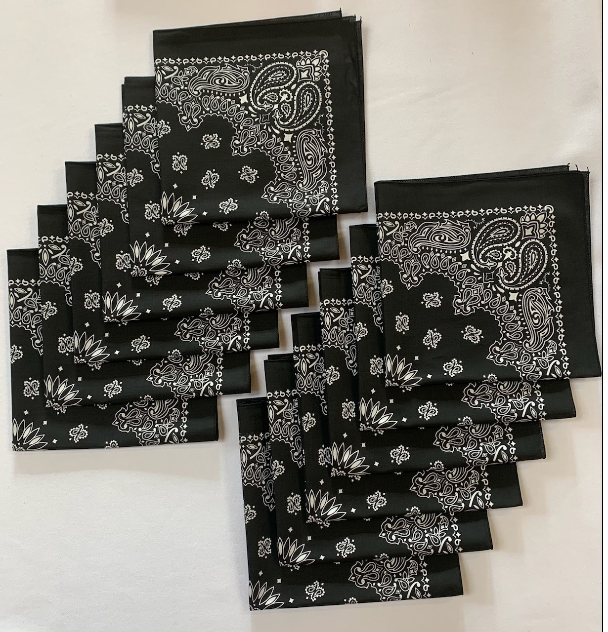 "Made in the USA Black Paisley Bandanas 12 Pk, 22"" x 22"" Cotton"