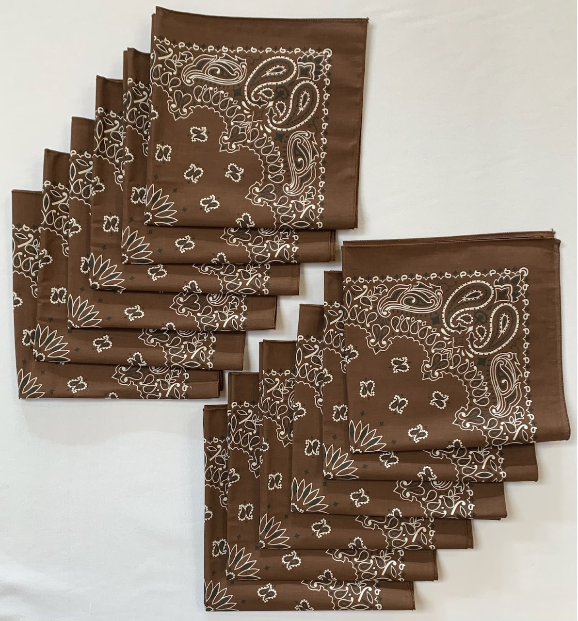 "Made in the USA Brown Paisley Bandanas 12 Pk, 22"" x 22"" Cotton"
