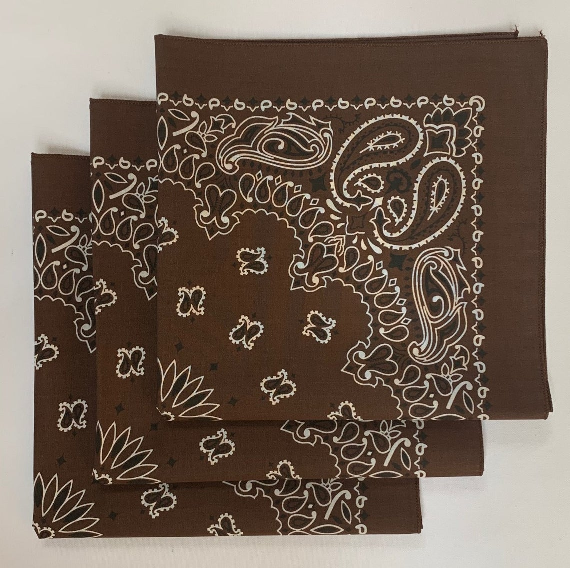 "Brown Paisley Bandanas - Made In The USA (3 Pk) 22"" x 22"""