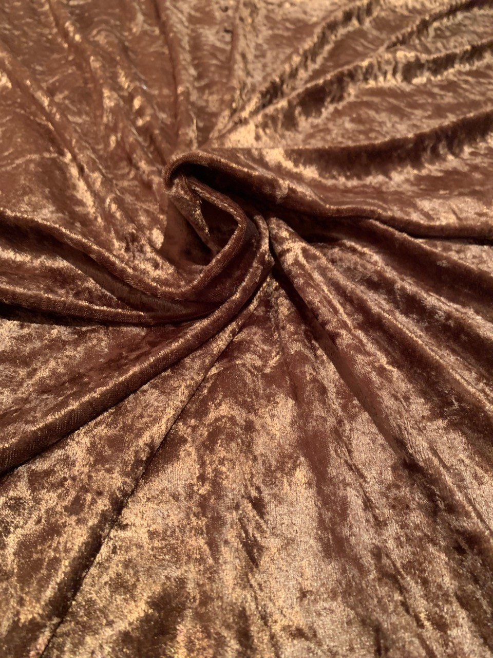 "58"" Brown Stretch Velour Fabric - By The Yard"
