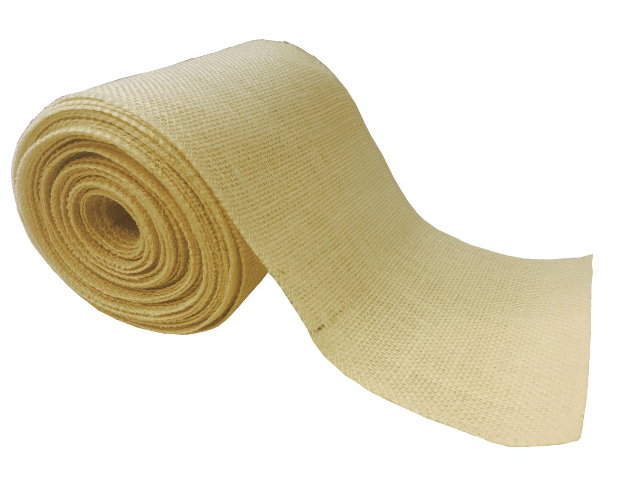 "6"" Butter Burlap Ribbon - 10 Yards (Serged)"