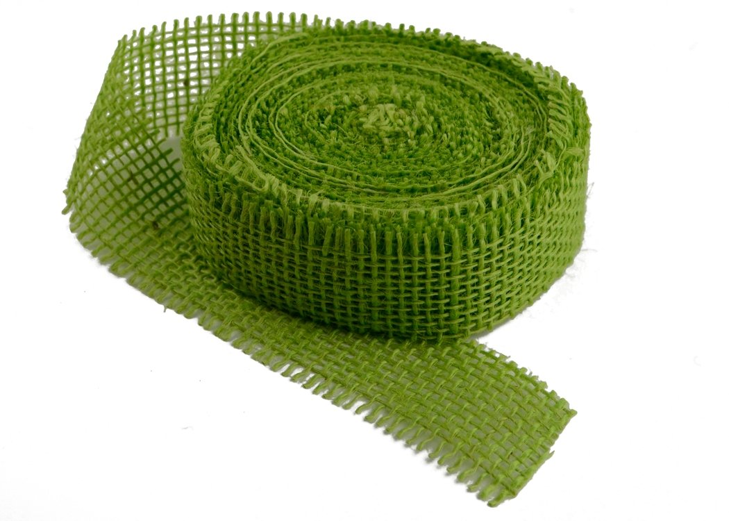 "1.5"" Chartreuse Burlap Ribbon - 10 Yards (Frayed Edges)"