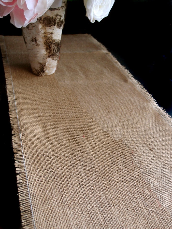 "Burlap Table Runner with Fringed Edges 14"" x 10 Yards"