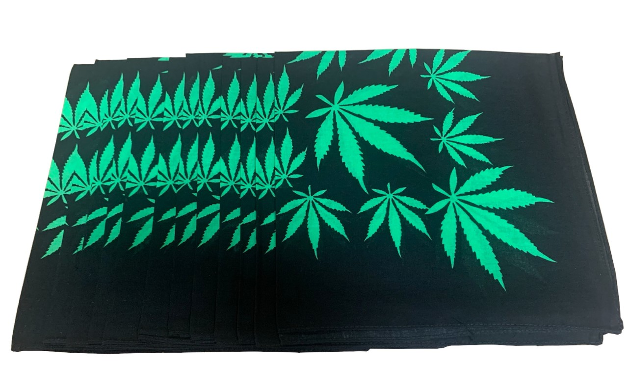 "Marijuana Bandanas Green Leaves 22"" x 22"" - 100% Cotton"