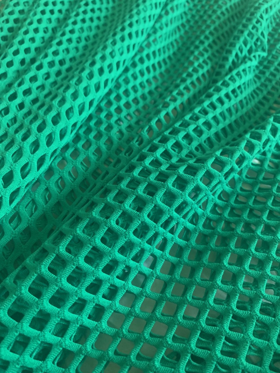 "58"" Green Poly Mesh Fabric BTY 75% Poly, 17% Nylon, 8% Spandex"